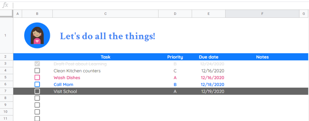 preview of google tasks template with ABCD system